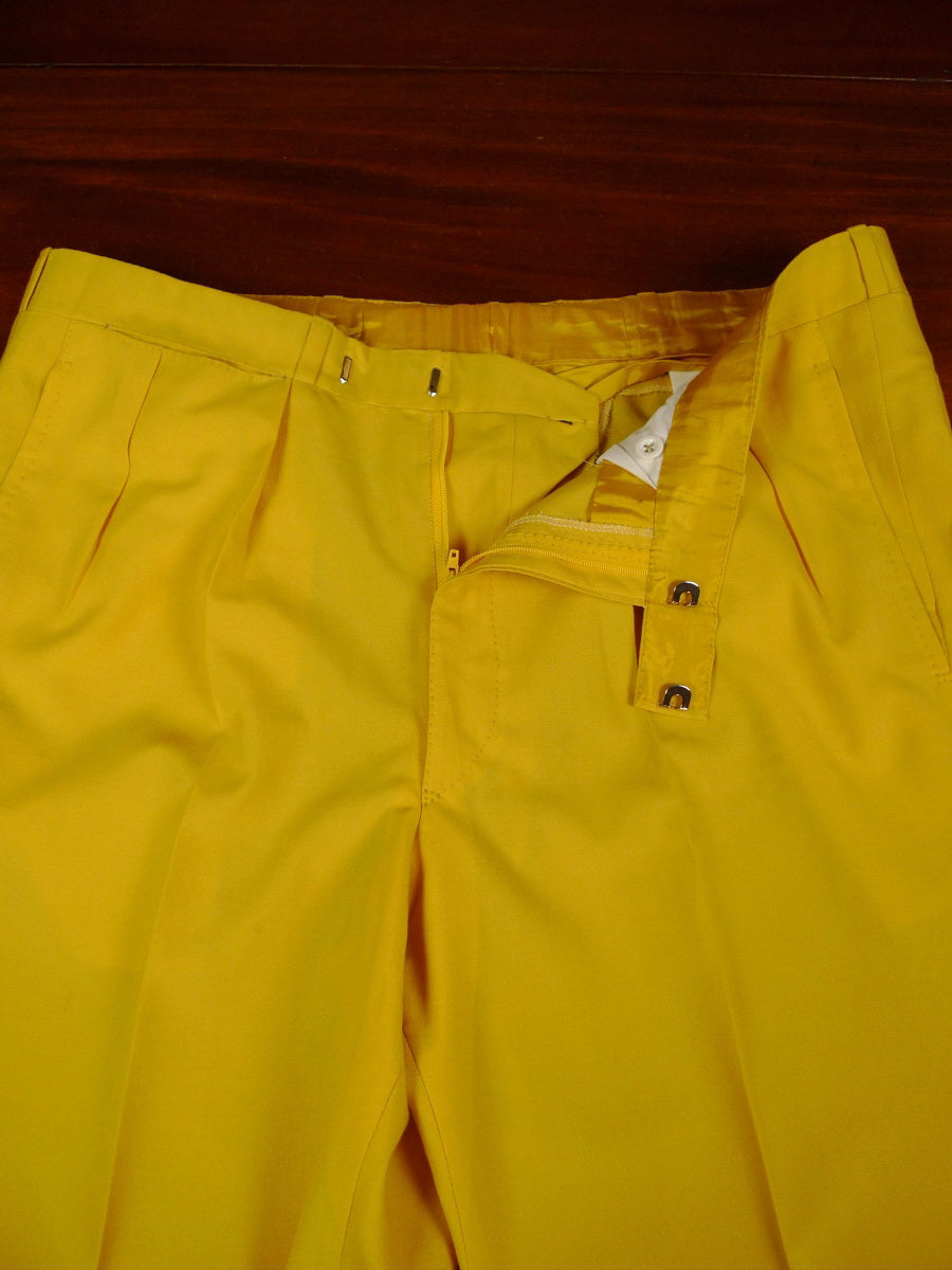 19/1452 wells mayfair savile row bespoke canary yellow lightweight wool trouser 40