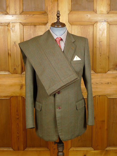 19/1467 near immaculate far-east bespoke tailor canvassed heavyweight green wp check tweed suit 39 regular