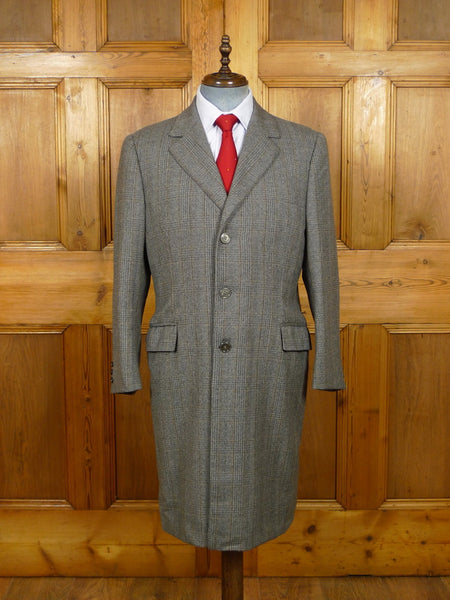 19/1480 distinctive vintage heavyweight grey / amber glen check  chesterfield overcoat 41