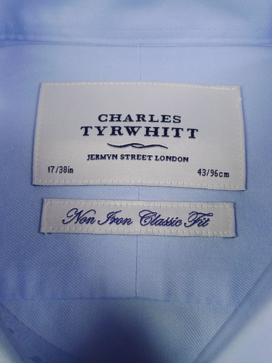 19/1499 new tyrwhitt pale blue non-iron d/cuff shirt 17