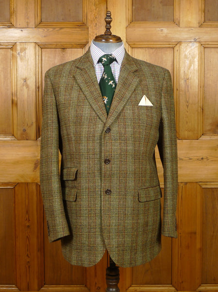 19/1489 immaculate walker slater brown wp check tweed jacket w/ burgundy linings rrp £285 46 long