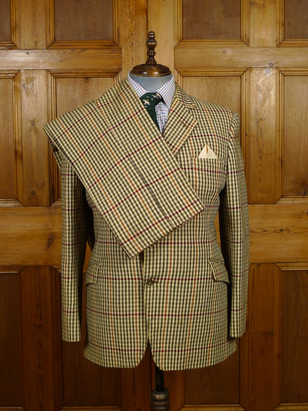 19/1519 vintage 1960s heavyweight gun club check sporting tweed 3-piece suit 41 short to regular