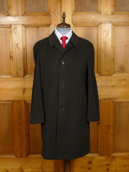 19/1530 vintage genuine crombie green check loden style wool raglan coat overcoat 40-41