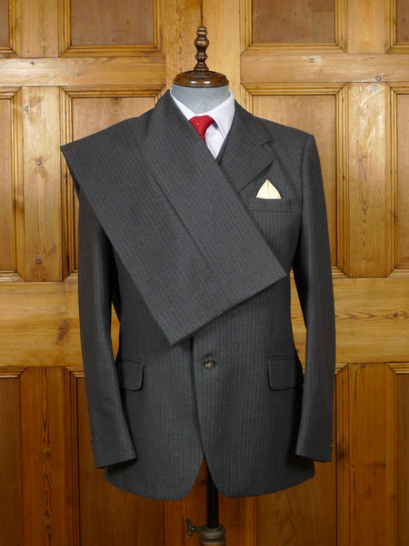 19/1541 vintage 1979 regent st tailor grey pin-stripe 3-piece worsted suit 39-40 regular