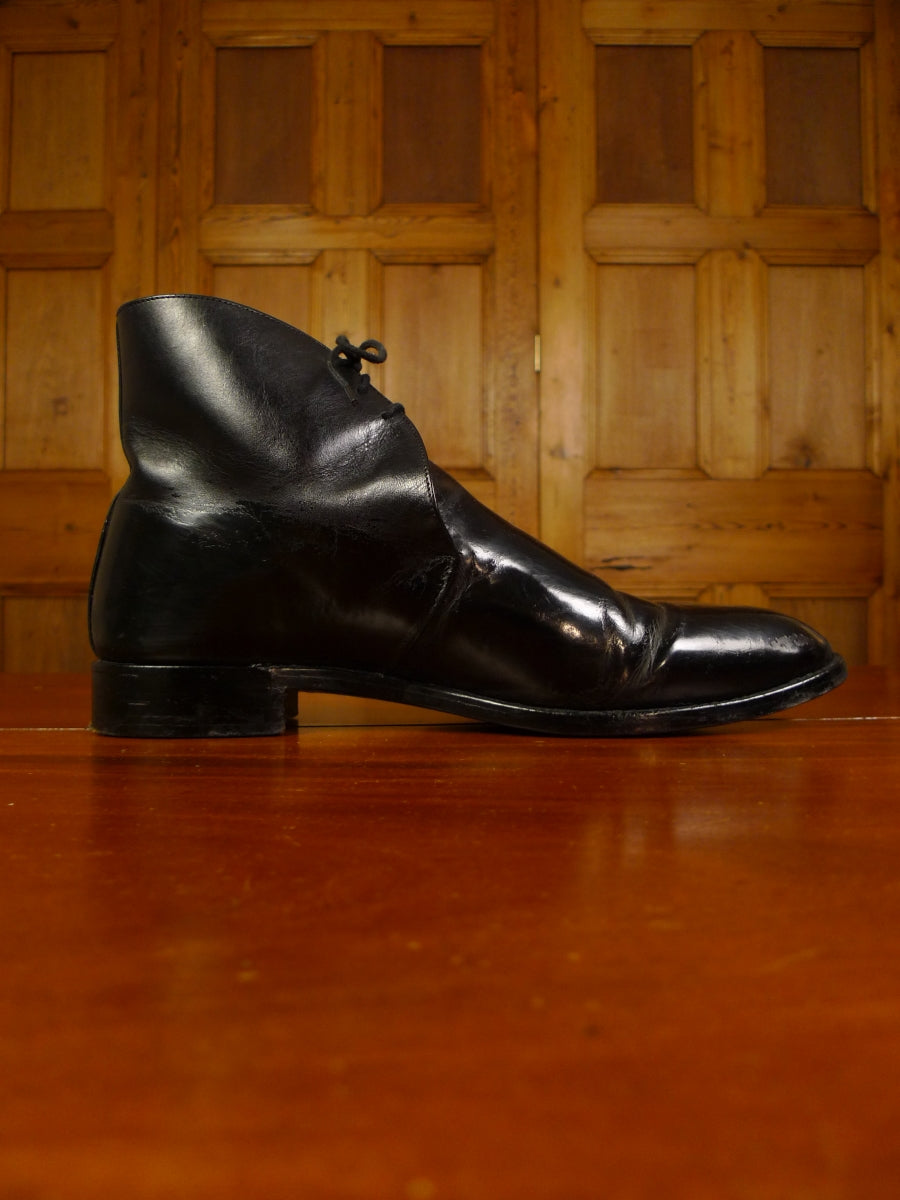 19/1559 vintage custom grade black polished leather dress boot uk 12
