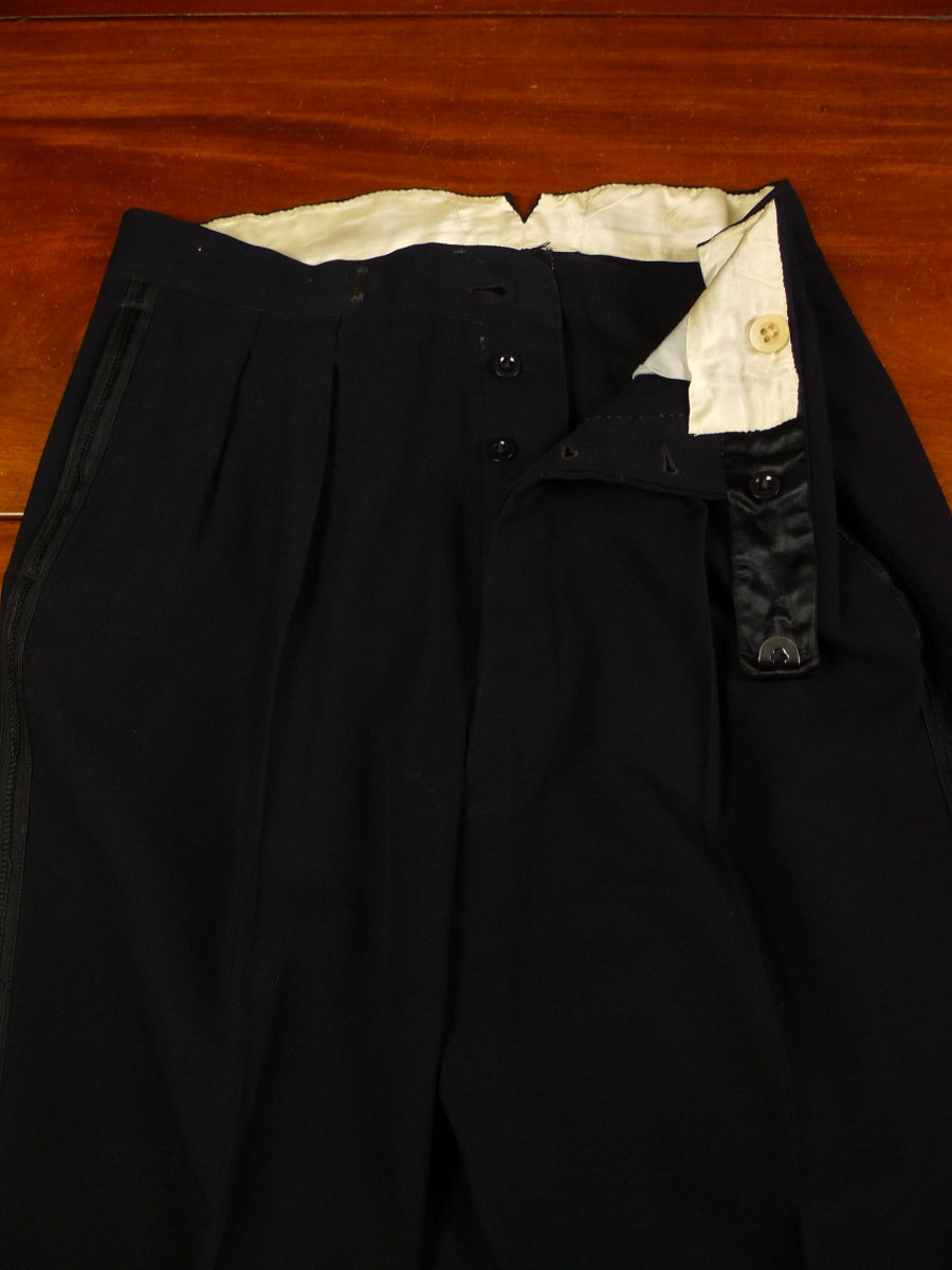 19/1576 vintage midnight blue barathea wool high-rise evening trouser 35