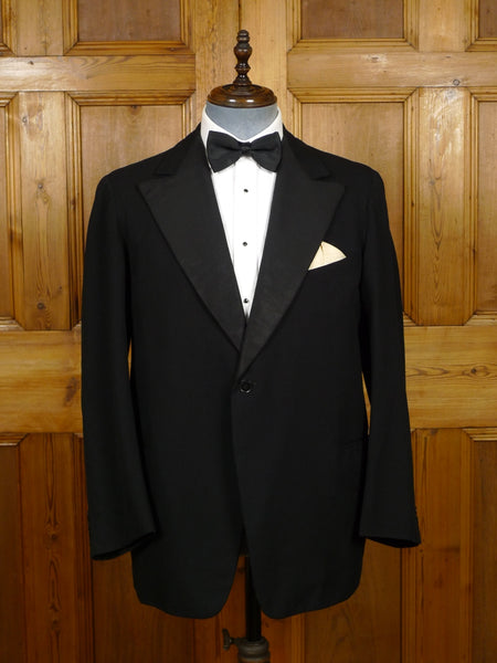 19/1599 genuine 1950s vintage bespoke tailored black barathea / grosgrain silk s/b dinner jacket w/ peak lapel 40-41 short (portly cut)