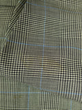 19/1629 superb vintage aubrey weatherill savile row bespoke grey / blue prince of wales check 3-piece wool suit 39 short