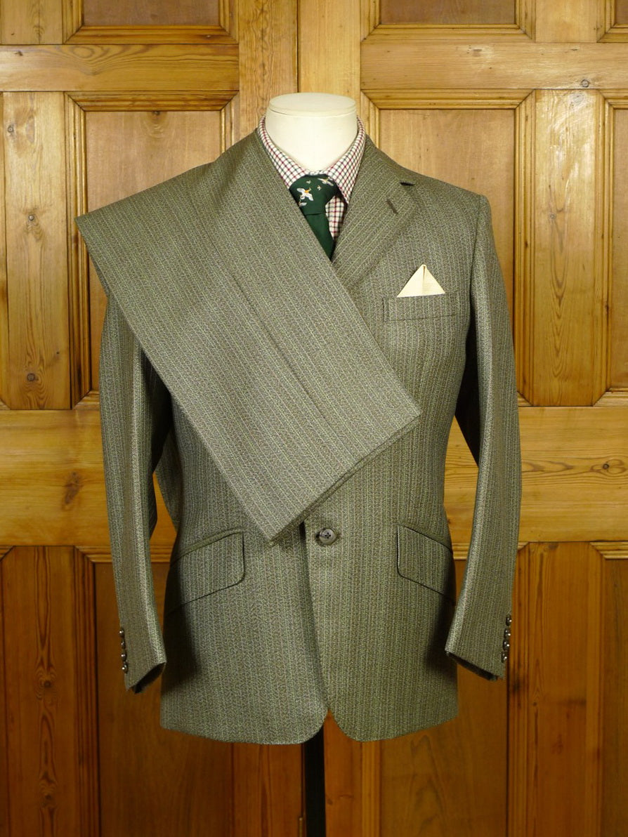 19/1637 immaculate 1985 vintage weatherill savile row bespoke green / red pin-stripe worsted twist 3-piece town & country suit 38 short
