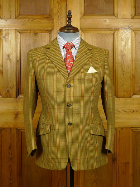 19/1640 vintage 1979 weatherill savile row bespoke sporting check tweed hacking jacket 38-39 short