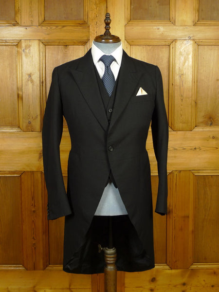 19/1644 vintage 1984 ward & kruger savile row bespoke black herringbone wool morning coat & matching waistcoat 38-39 short to regular