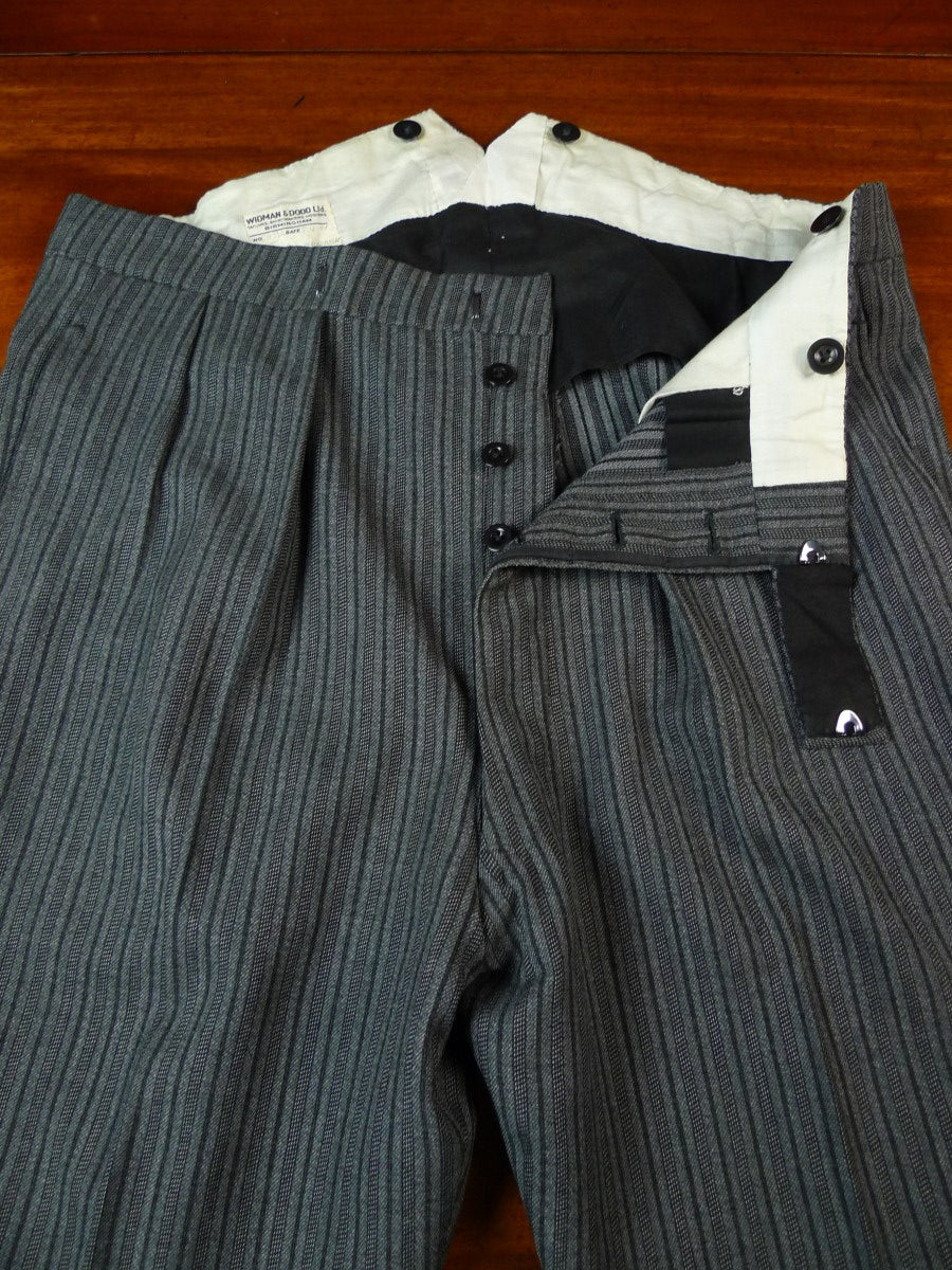 19/1654 vintage 1961 bespoke tailored 'cashmere stripe' worsted high-rise morning trouser 38