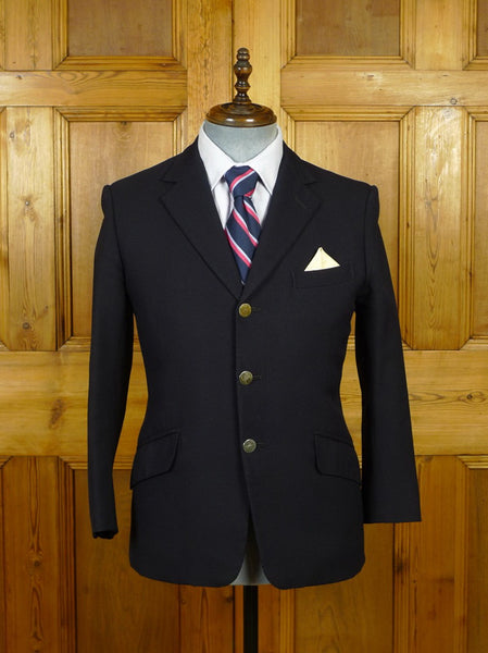 19/1657 vintage weatherill savile row bespoke navy blue worsted blazer w/ silver buttons 38 short