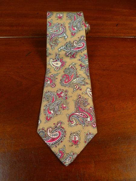 19/1665 immaculate vintage weatherills savile row gold / red paisley pattern silk tie