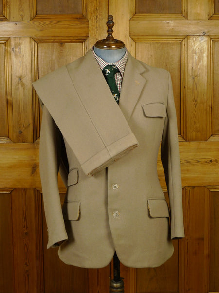 19/1661 heavyweight vintage bespoke tailor beige cavalry twill country suit 41 regular