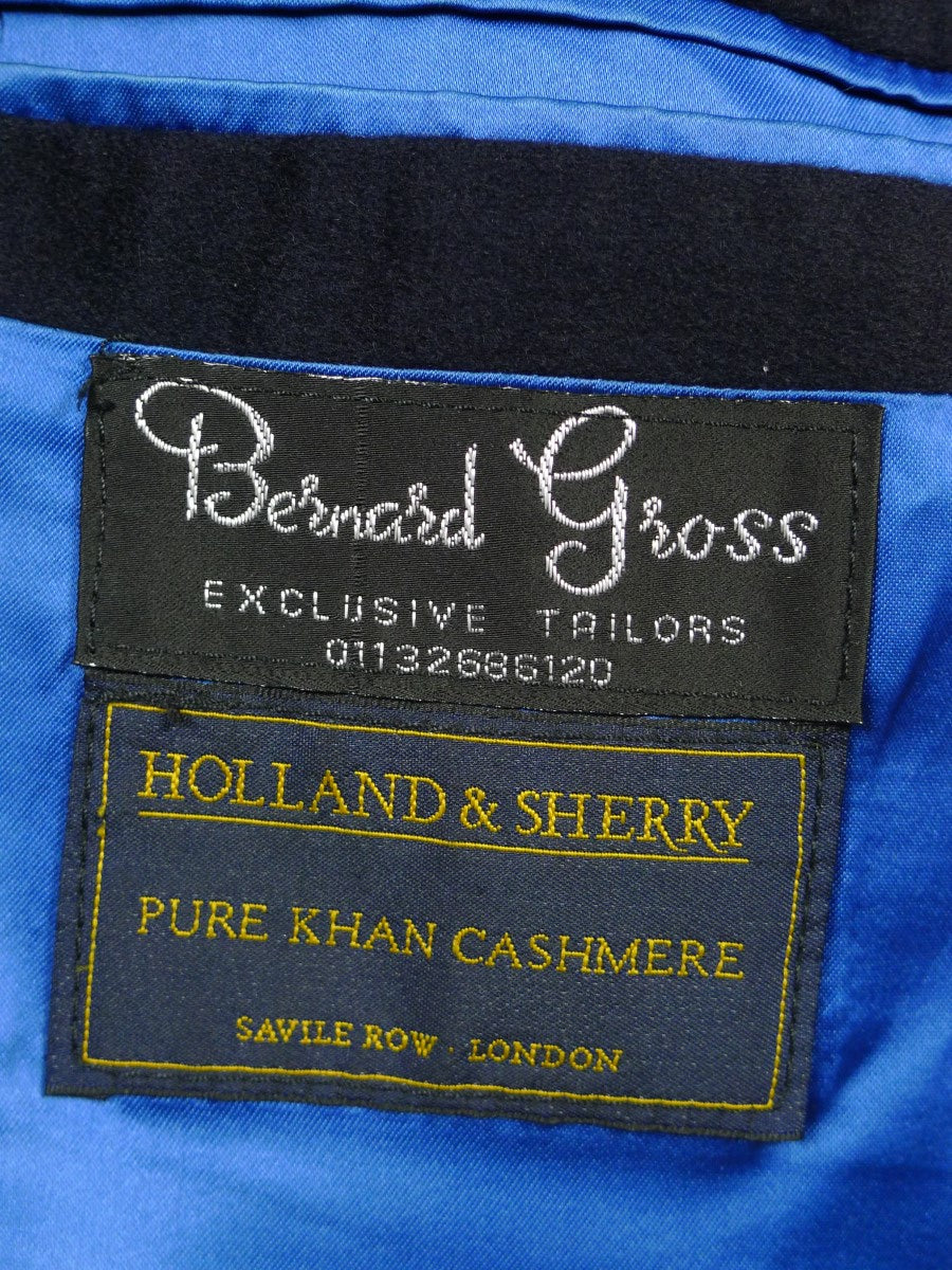 19/1676 vintage holland & sherry pure khan cashmere navy blue blazer 51-52 short
