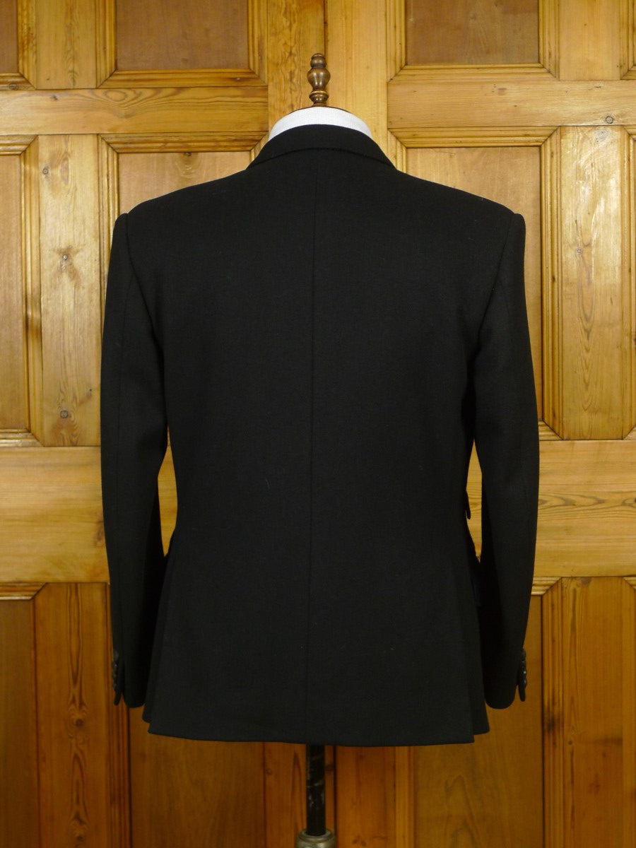 19/1668 vintage bespoke tailor canvassed extra-heavyweight black d/b blazer w/ prince of wales regiment buttons 43 short