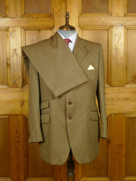 19/1669 vintage gieves & hawkes savile row brown / red & amber wp check worsted twist town & country suit 45 regular