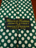 19/1703 harvie and hudson green / cream polka dot 100% silk tie