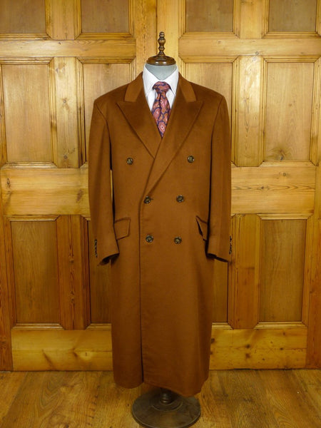 19/1706 immaculate bespoke tailored full-length pure cashmere tobacco tan brown d/b overcoat 42-44 (rrp £3500