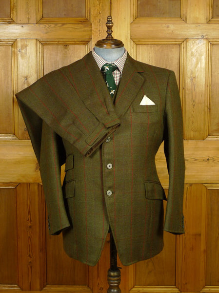 19/1731 immaculate bespoke tailor canvassed heavyweight 3-piece green / red wp check tweed shooting suit 43 regular