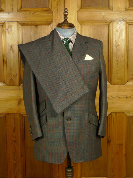 19/1736 immaculate adeney & boutroy 1995 savile row bespoke green sporting check 3-piece worsted suit 44 regular