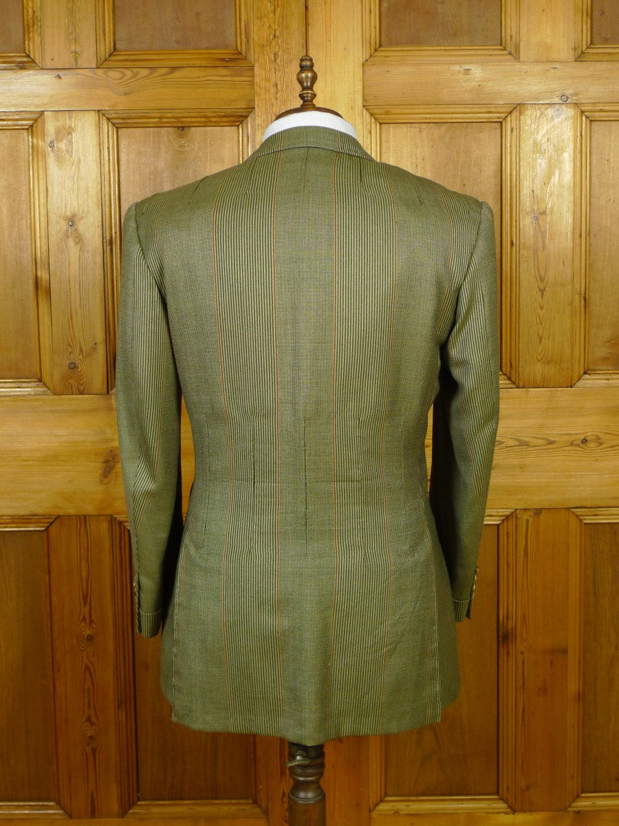 19/1738 immaculate adeney & boutroy 1997 savile row bespoke green sporting check cashmere-rich sports jacket w/ gauntlet cuff 43-44 regular