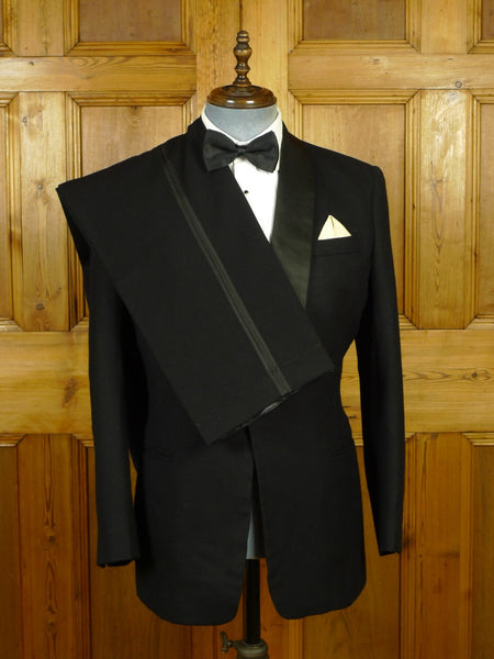 19/1748 vintage gordon weatherill bespoke black barathea dinner suit w/ silk shawl 39 regular to long