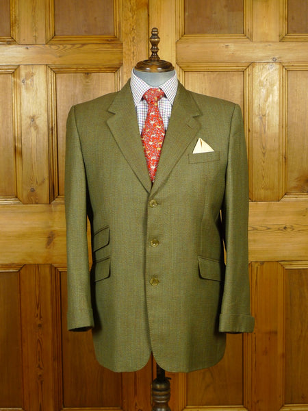 19/1745 near immaculate norton & townsend bespoke green / brown 2-tone wool sports jacket w/ gauntlet cuff 44-45 regular