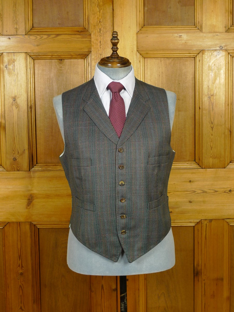 19/1749 immaculate 1997 adeney & boutroy savile row bespoke glen check worsted 3-piece suit 43-44 regular