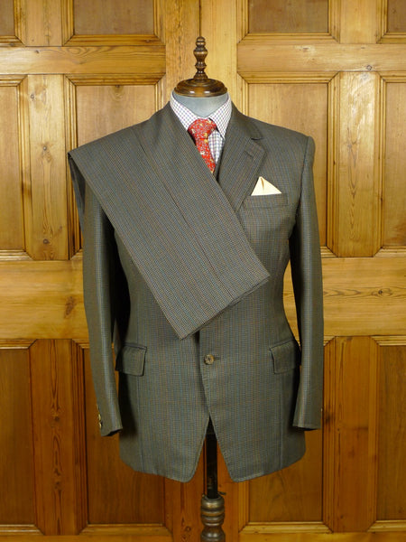 19/1750 vintage bespoke tailor canvassed gun club check 3-piece worsted town & country suit 41 regular