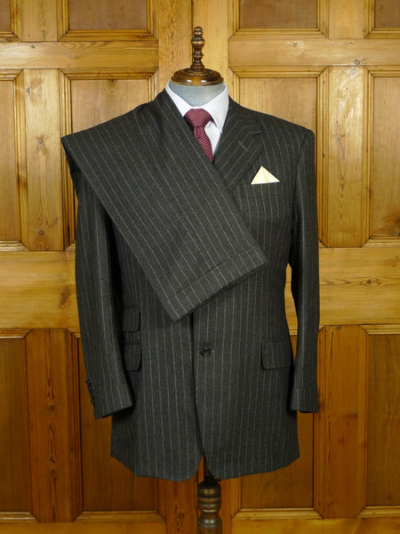 19/1754 immaculate 1997 adeney & boutroy savile row bespoke grey rope-stripe worsted flannel 3-piece suit 43 regular