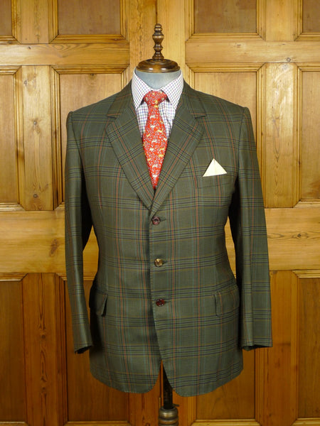19/1821 vintage bespoke tailor canvassed green glen check sports jacket blazer 41-42 regular