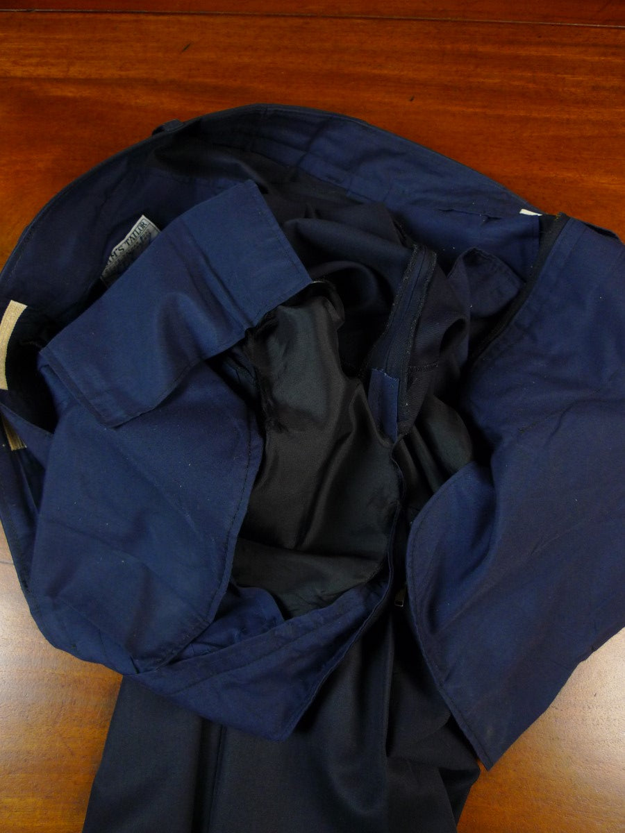 19/1764 sam's tailor canvassed navy blue wool / cotton suit 43 short to regular