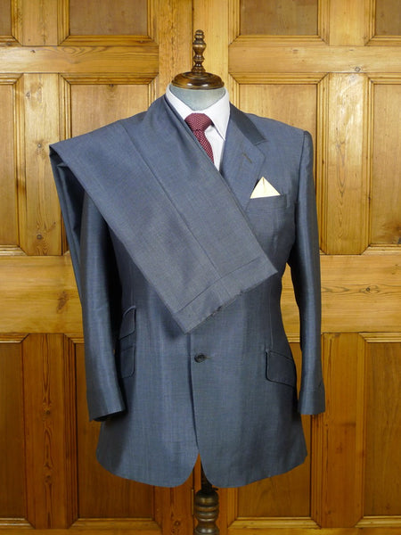 19/1805 vintage adeney & boutroy savile row bespoke light blue mohair suit w/ gauntlet cuff 42 regular