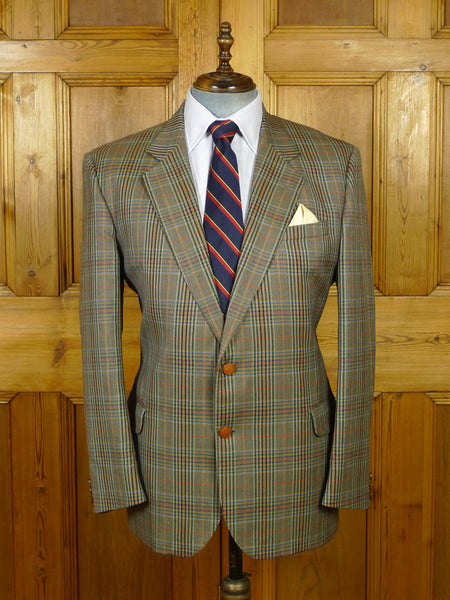 19/1802 vintage daks glen check wool sports jacket blazer w/ 'dd' buttons 44-45 regular