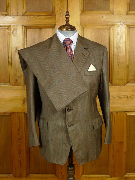 19/1804 vintage bespoke tailor canvassed brown wp check wool twist town & country suit 43 regular