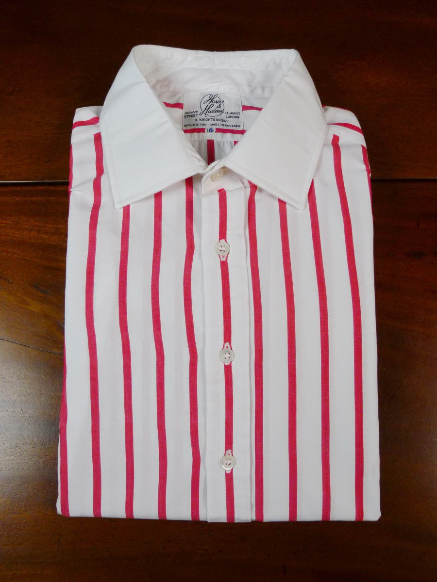 19/1806 harvie & hudson jermyn street red stripe double cuff 100% cotton shirt 15.5