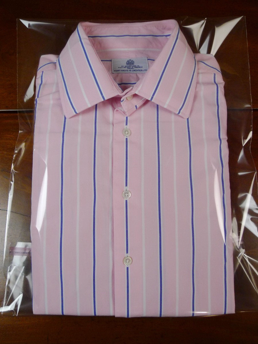 19/1816 immaculate kent haste & lachter blue pink cream double cuff cotton shirt bespoke