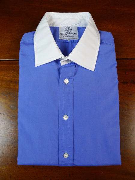 19/1809 immaculate harvie & hudson jermyn street blue double cuff 100% cotton shirt 15.5