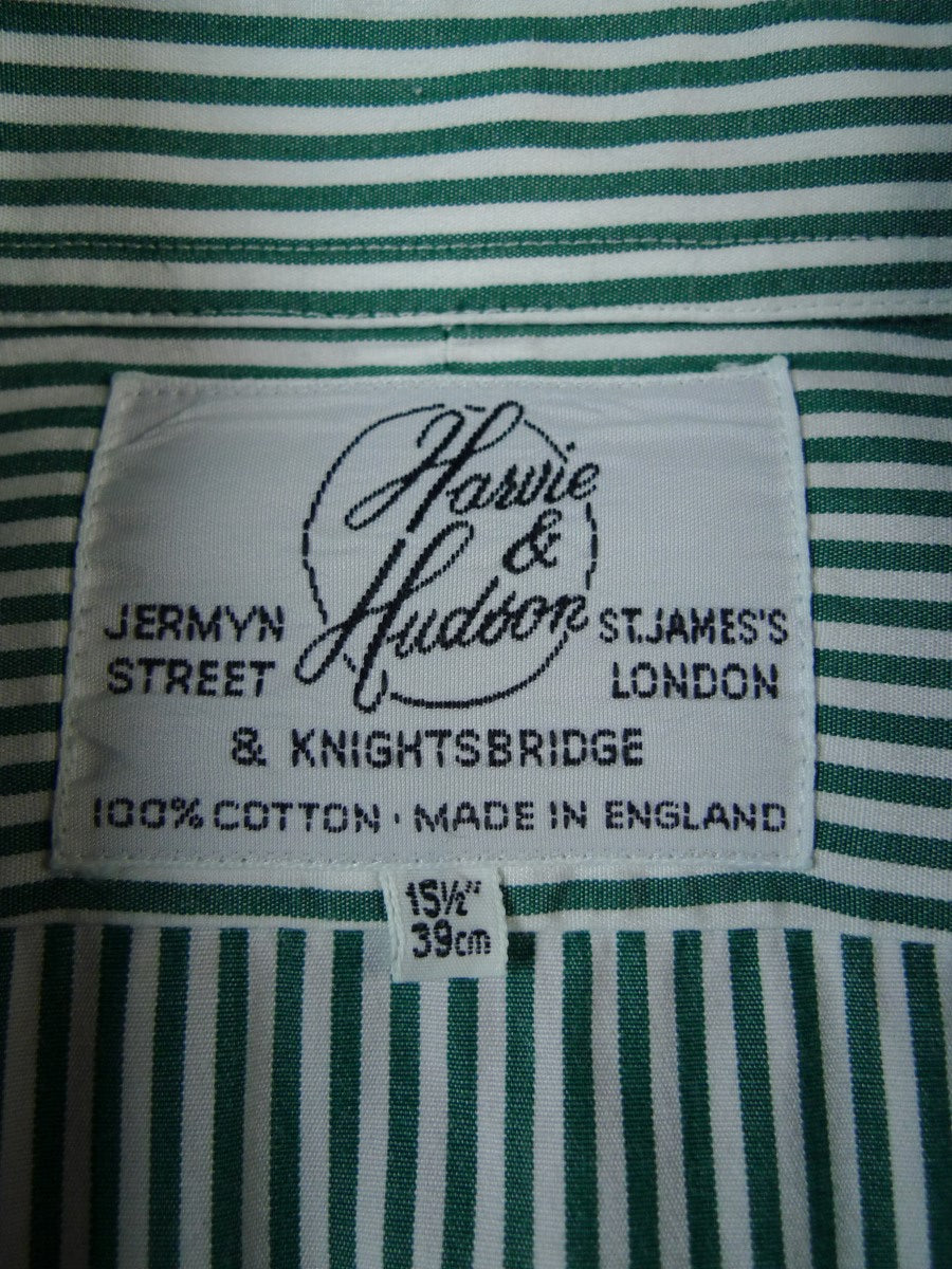 19/1811 immaculate harvie & hudson jermyn street olive green candy stripe double cuff 100% cotton shirt 15.5