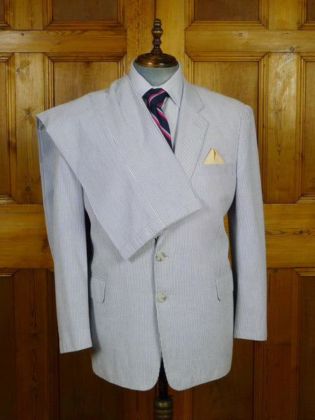19/1822 kowloon bespoke tailor pale blue seersucker stripe textured cotton suit 46 short to regular