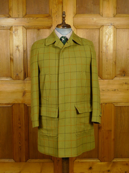 20/0002 wonderful vintage invertere saxony wool green wp check tweed field jacket shooting coat 40