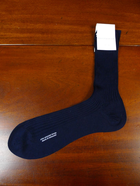 20/0013 brand new kent haste & lachter savile row 100% cotton navy long sock uk 9-10  euro 43-44 rrp £21 per pair