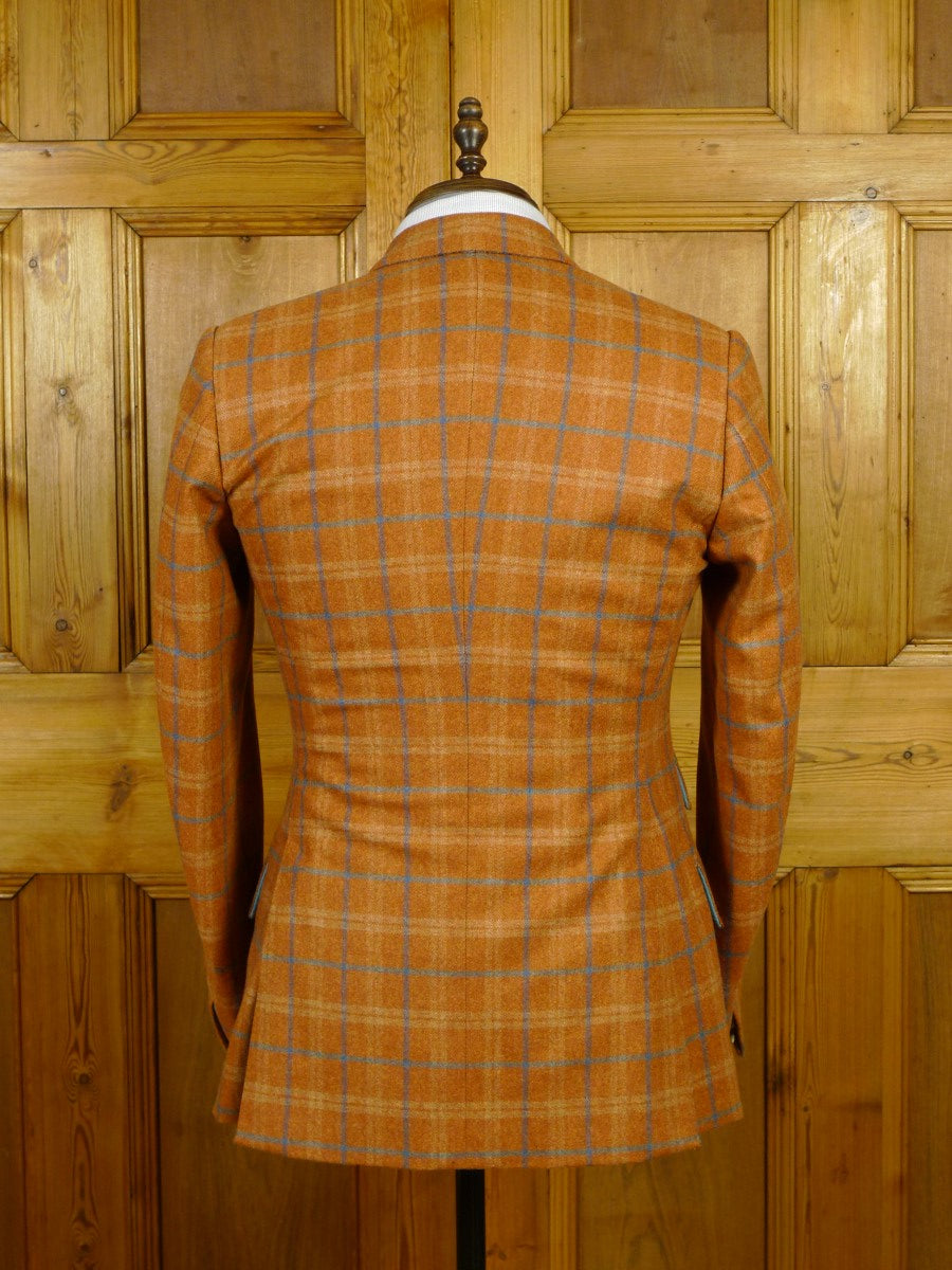 20/0010 stunning 2014 dege & skinner savile row bespoke tan brown wp check flannel sports jacket blazer 37 short