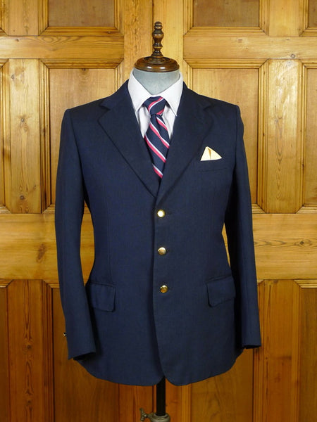 20/0024 vintage 1975 savile row bespoke blue herringbone WORSTED BLAZER 39 SHORT