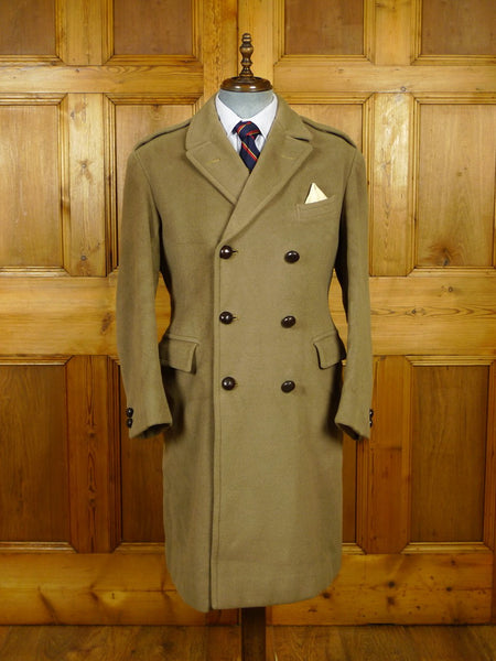 20/0027 extra heavyweight 1966 vintage british warm melton wool overcoat w/ original leather buttons 38-39