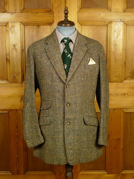 20/0018 beautiful 1968 vintage anderson & sheppard savile row bespoke donegal tweed jacket w/ ghillie collar & gauntlet cuff  43 long