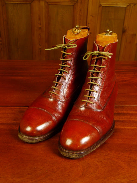20/0029 exceptional vintage bespoke made mahogany brown 8 hole riding / country boots with wooden inserts UK11