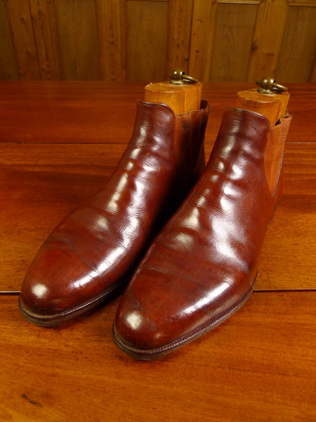 20/0032 vintage john lobb bespoke mahogany brown leather chelsea boots uk9